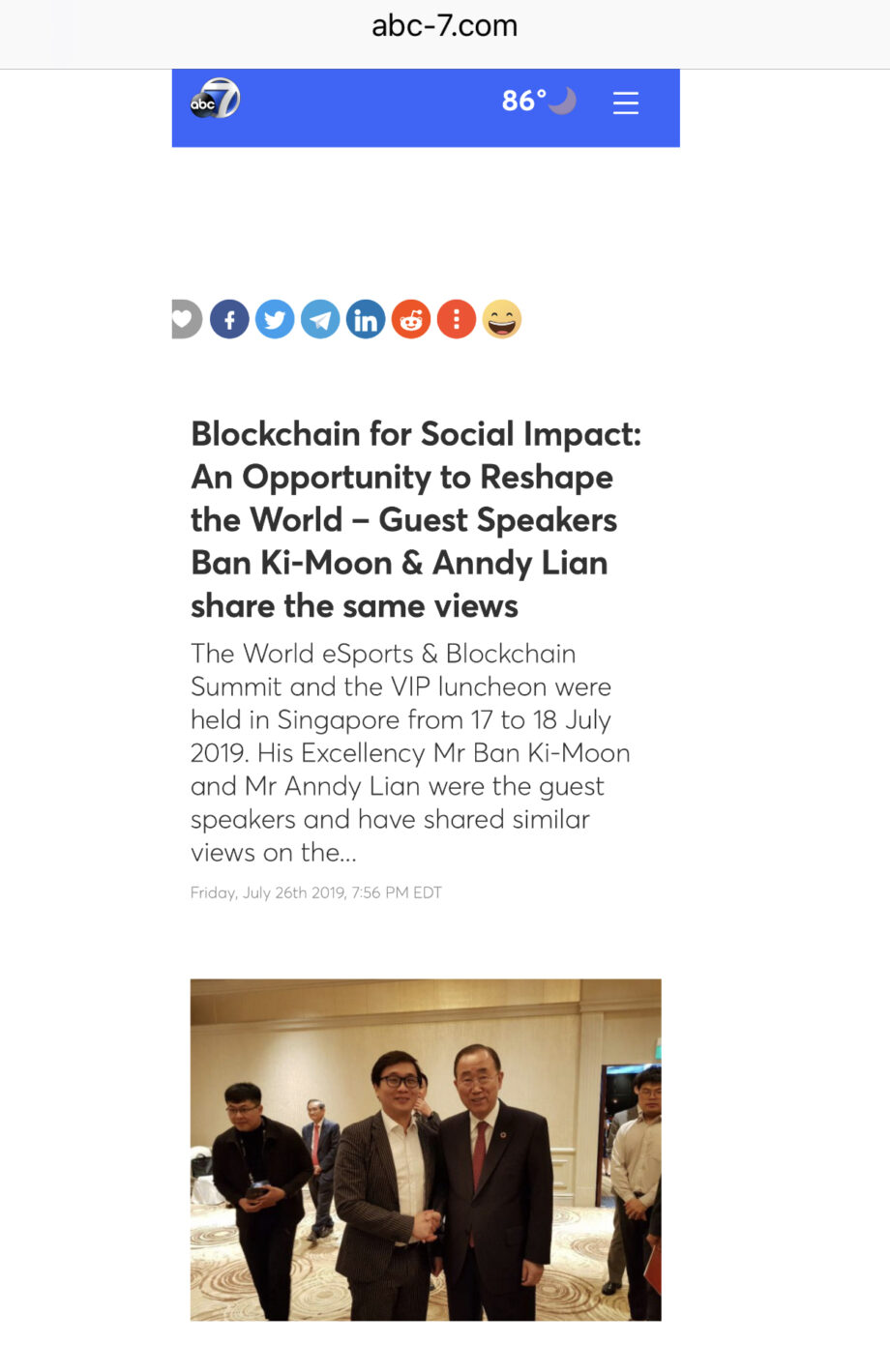 [ABC News] Blockchain for Social Impact: An Opportunity to Reshape the World- Guest Speakers Ban Ki-Moon & Anndy Lian share the same the views