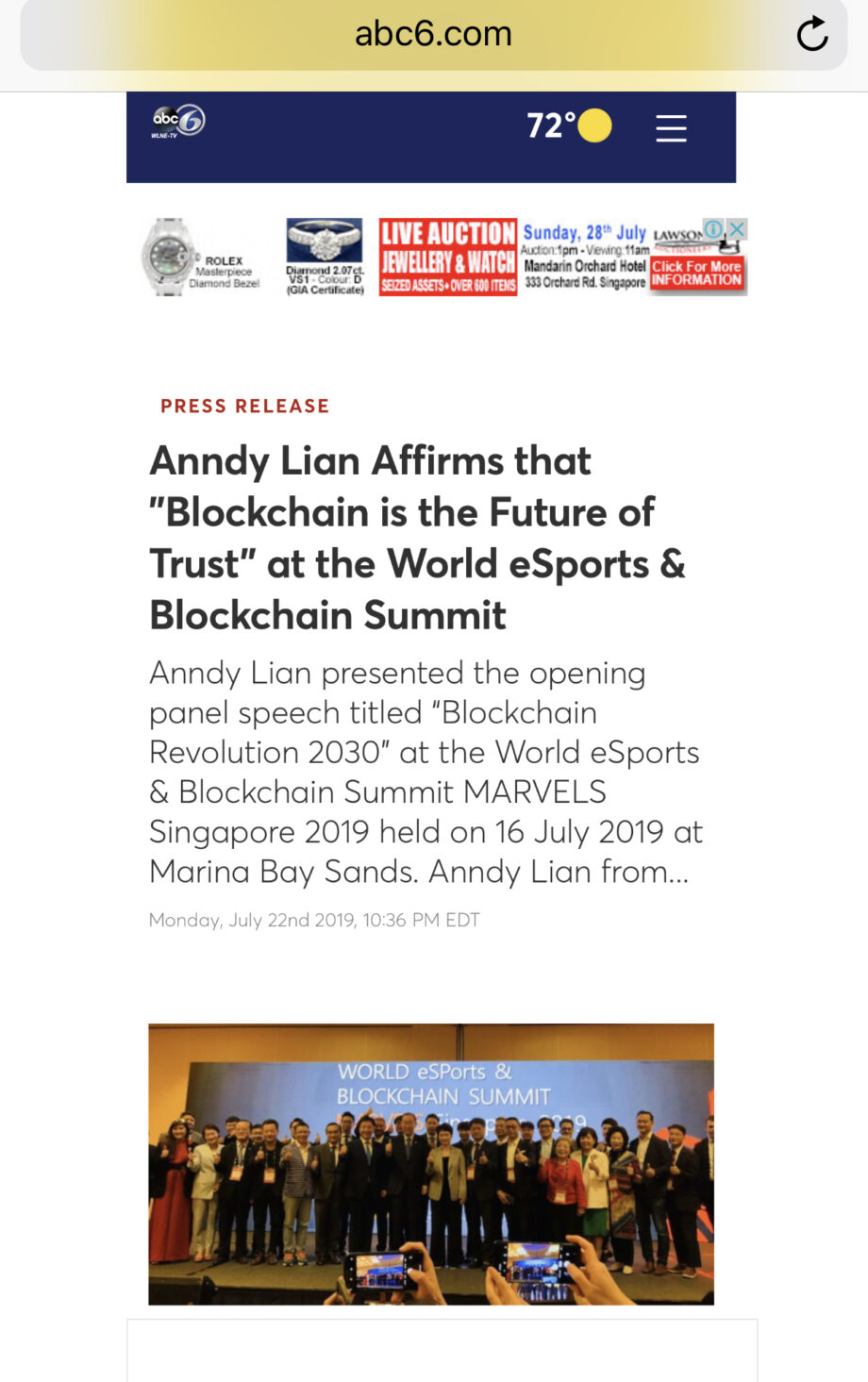 """[ABC News] Anndy Lian Affirms that """"Blockchain is the Future of Trust"""" at the World eSports & Blockchain Summit"""