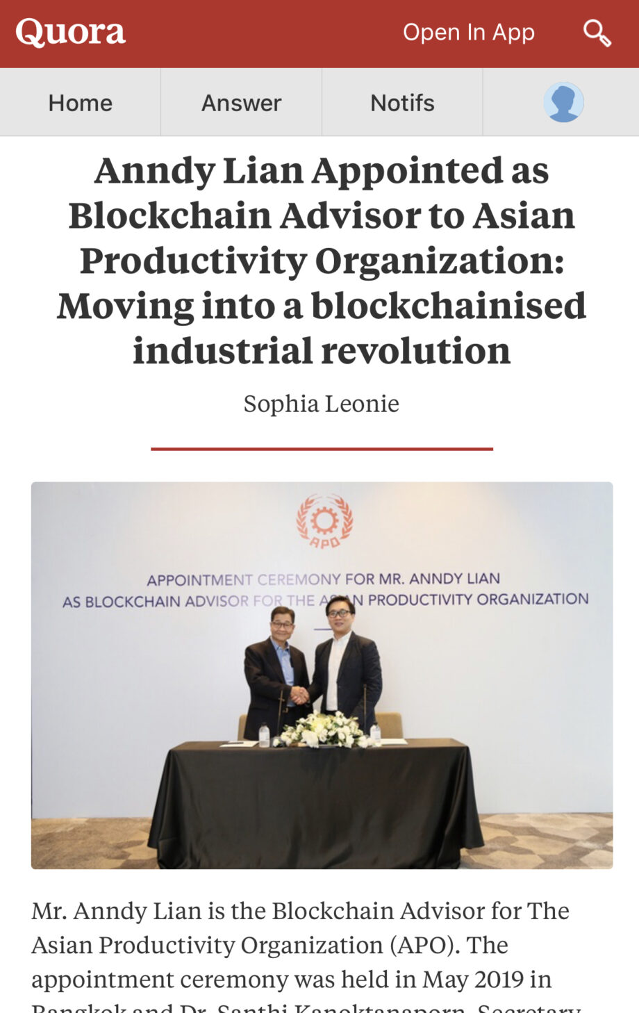 [Quora.com] Anndy Lian Appointed as Blockchain Advisor to Asian Productivity Organization: Moving into a blockchainised industrial revolution