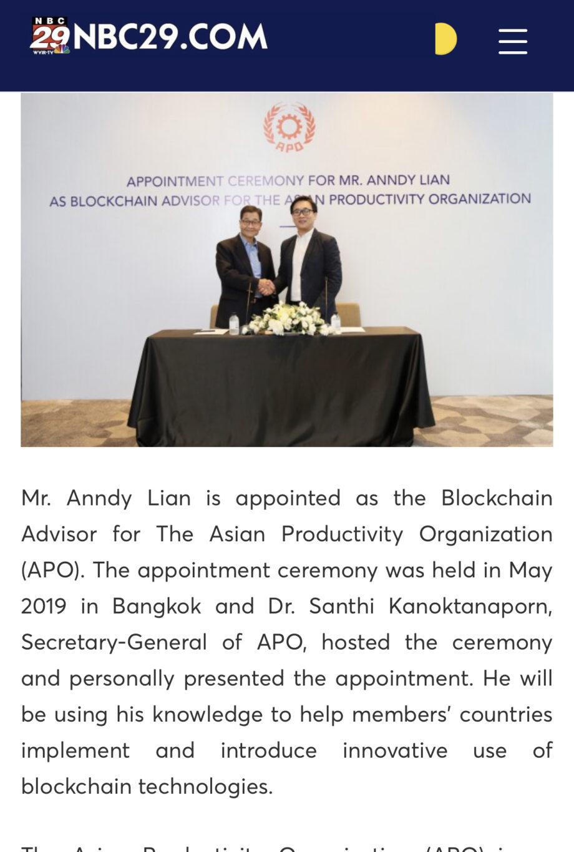 [NBC NEWS]: Mr. Anndy Lian Appointed as Blockchain Advisor to Asian Productivity Organization (APO)
