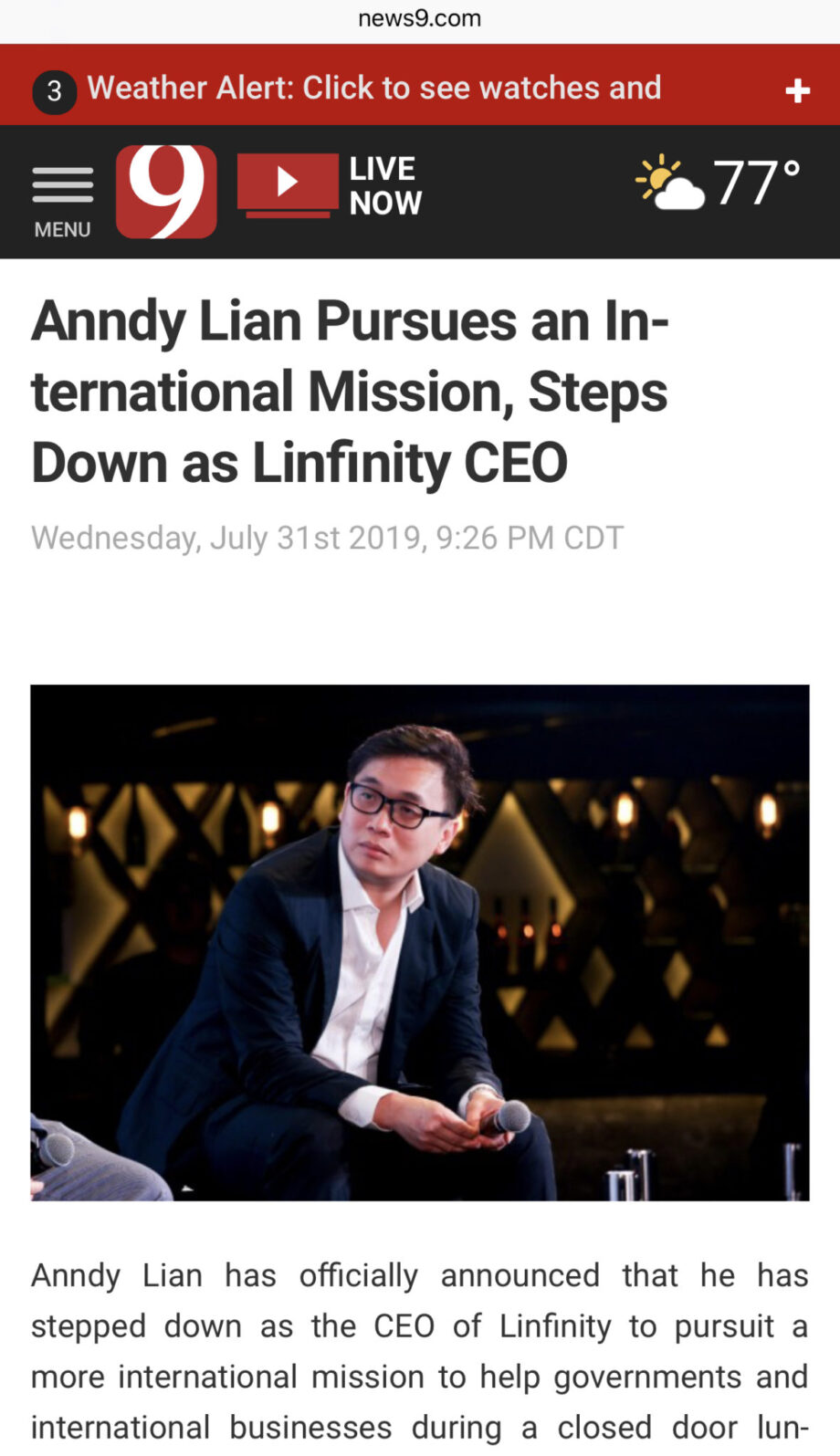 News9/ Anndy Lian Steps Down as Linfinity CEO, Pursues an International Mission,