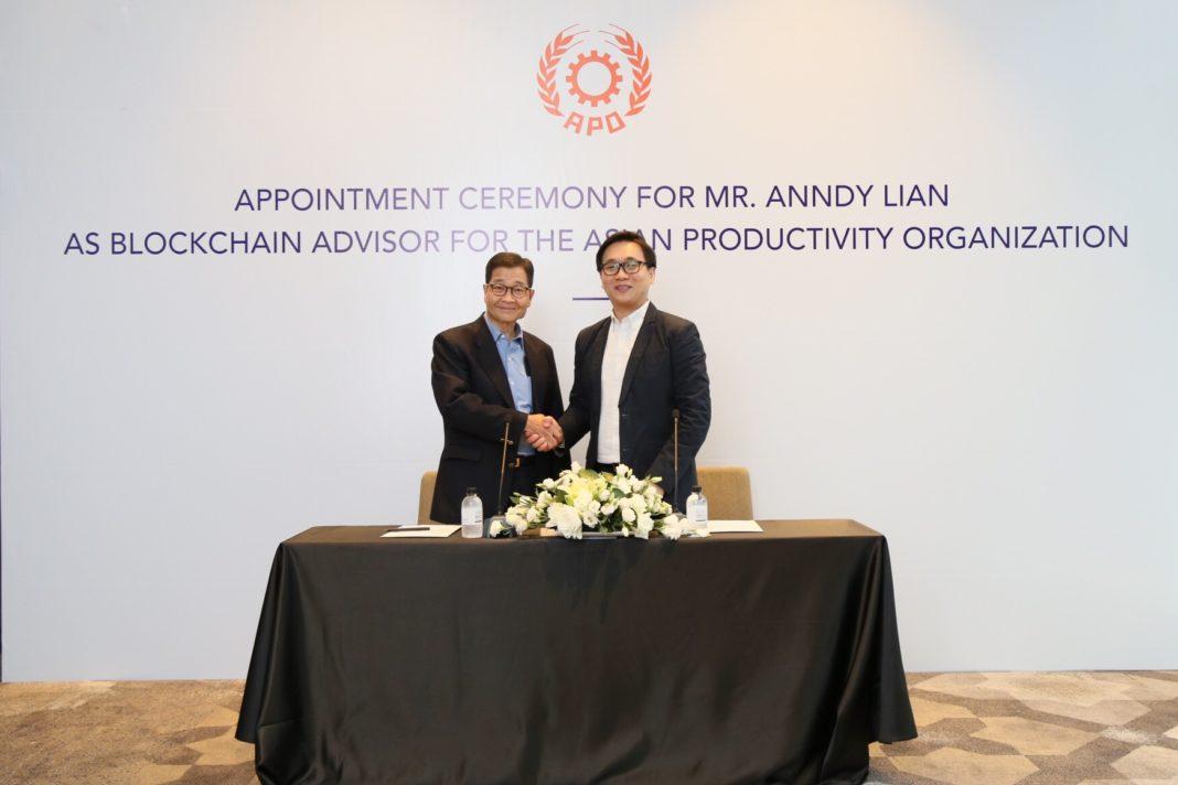 , Mr. Anndy Lian Appointed as Blockchain Advisor to Asian Productivity Organization (APO), Blockchain Adviser for Inter-Governmental Organisation   Book Author   Investor   Board Member