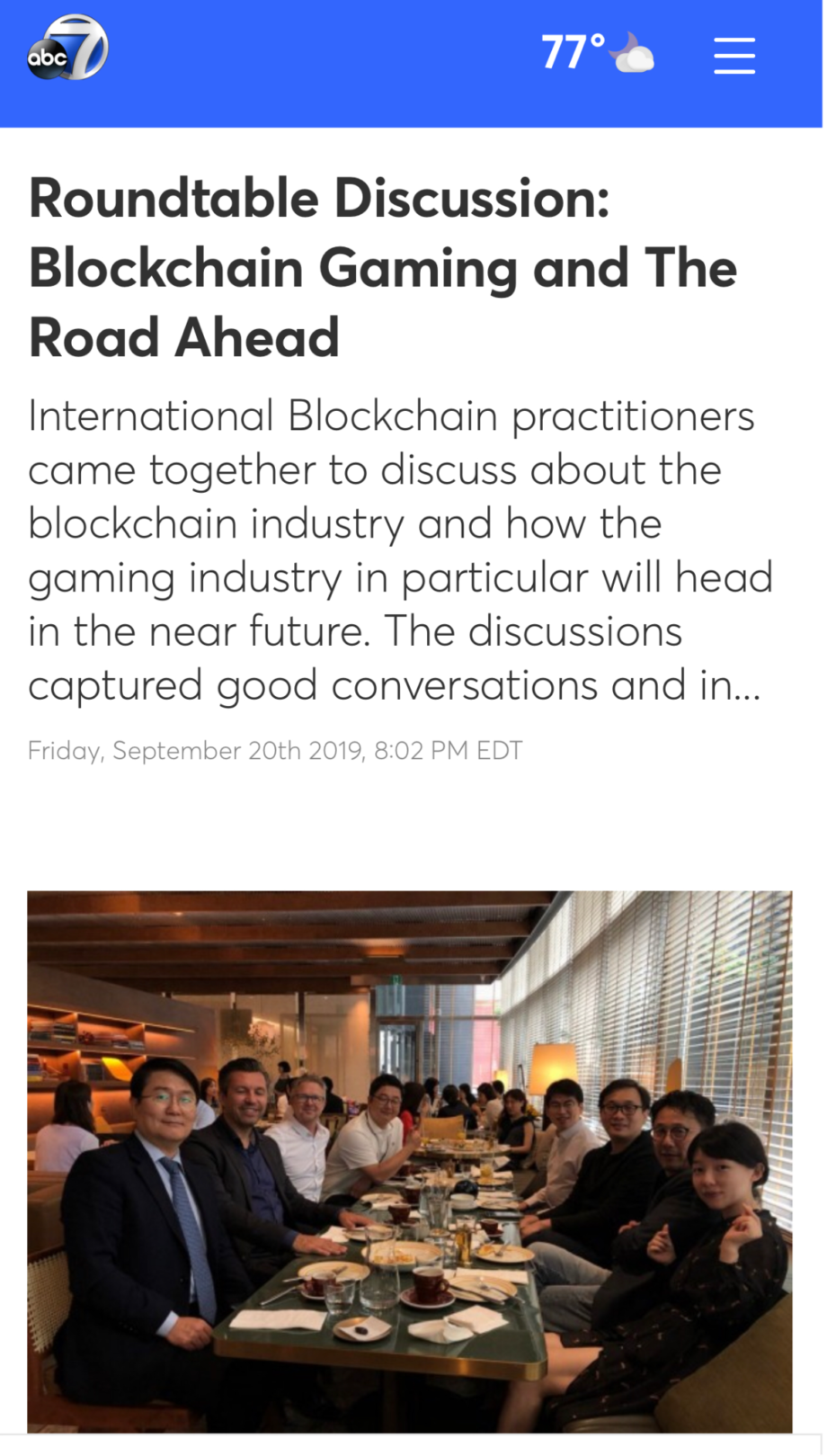 ABC 7 News: Roundtable Discussion: Blockchain Gaming and The Road Ahead