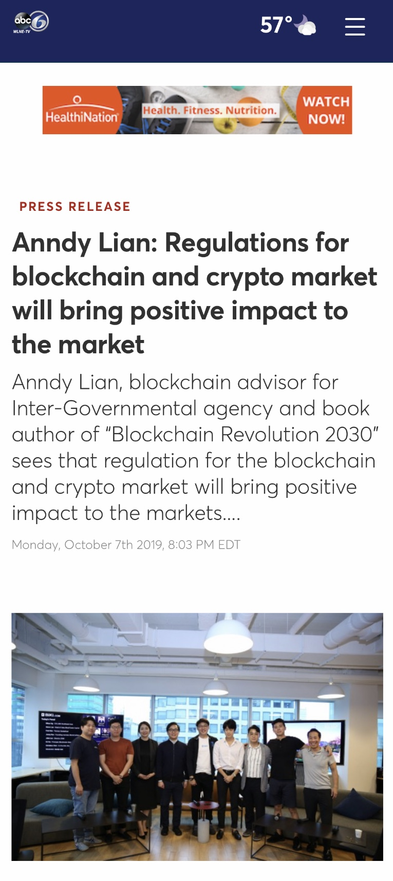 ABC NEWS- Anndy Lian: Regulations for blockchain and crypto market will bring positive impact to the market