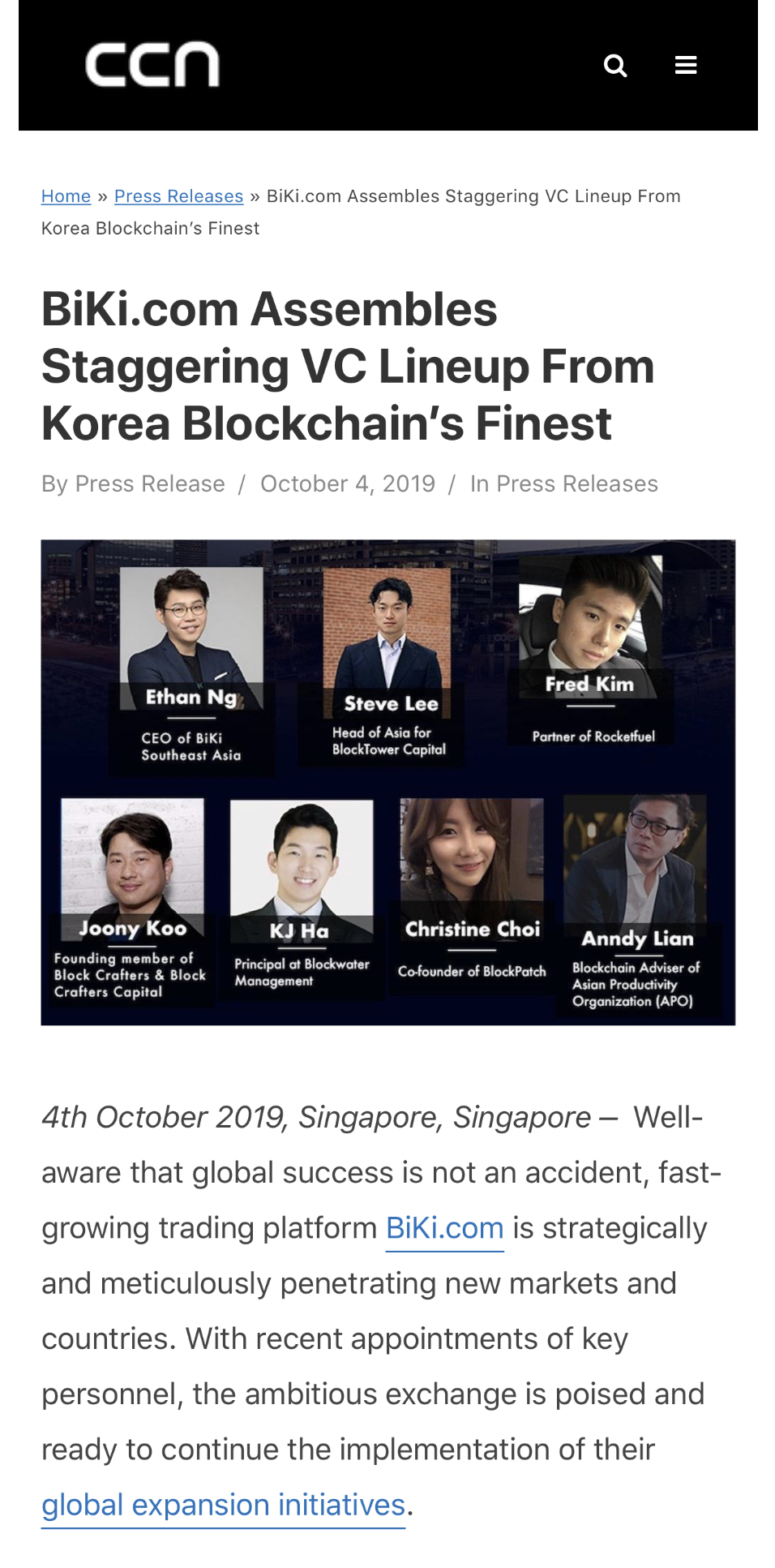 , CCN: BiKi.com Assembles Staggering VC Lineup From Korea Blockchain's Finest, Blockchain Adviser for Inter-Governmental Organisation | Book Author | Investor | Board Member