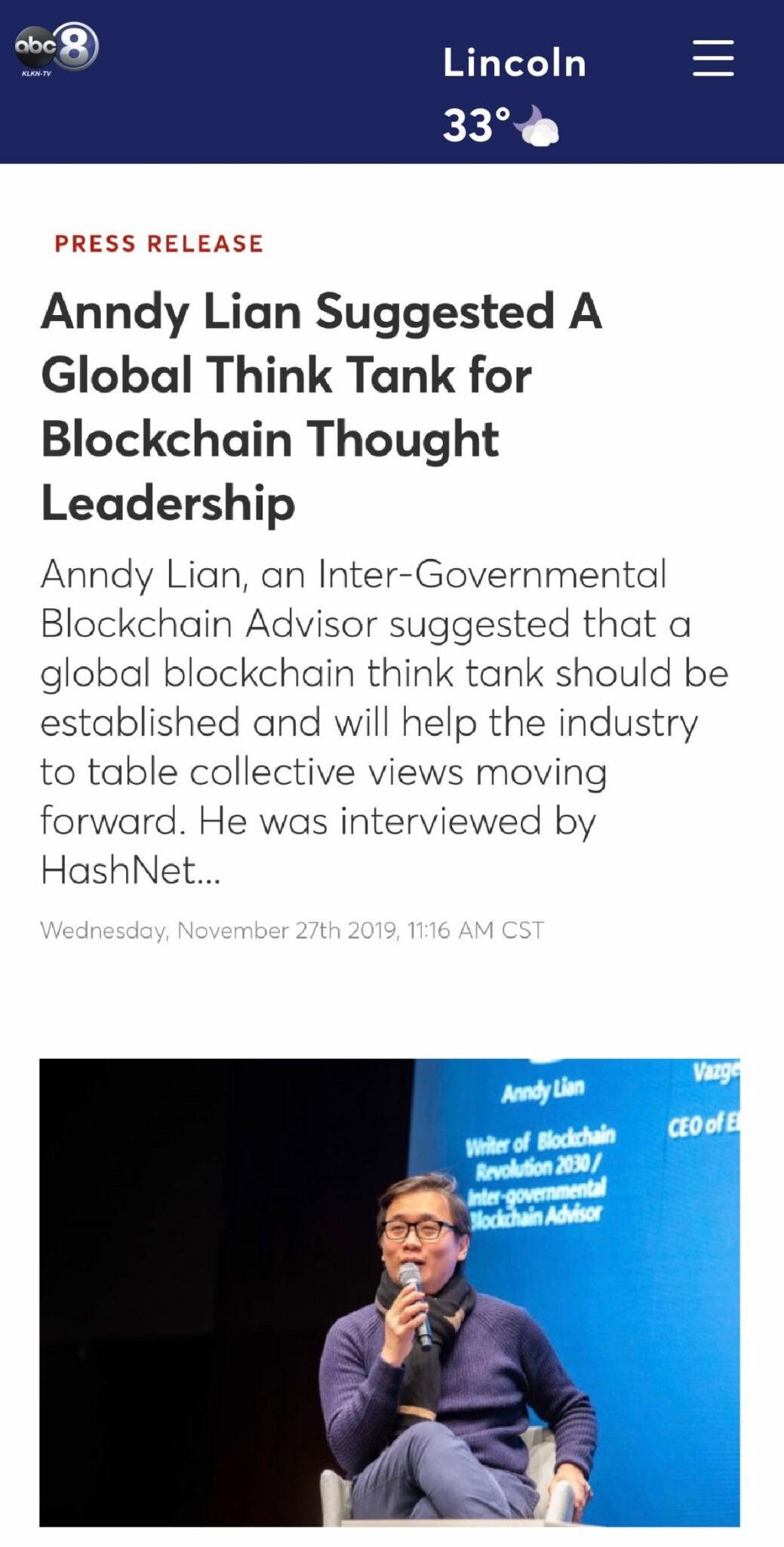 , ABC 6: Anndy Lian Suggested A Global Think Tank for Blockchain Thought Leadership, Blockchain Adviser for Inter-Governmental Organisation | Book Author | Investor | Board Member