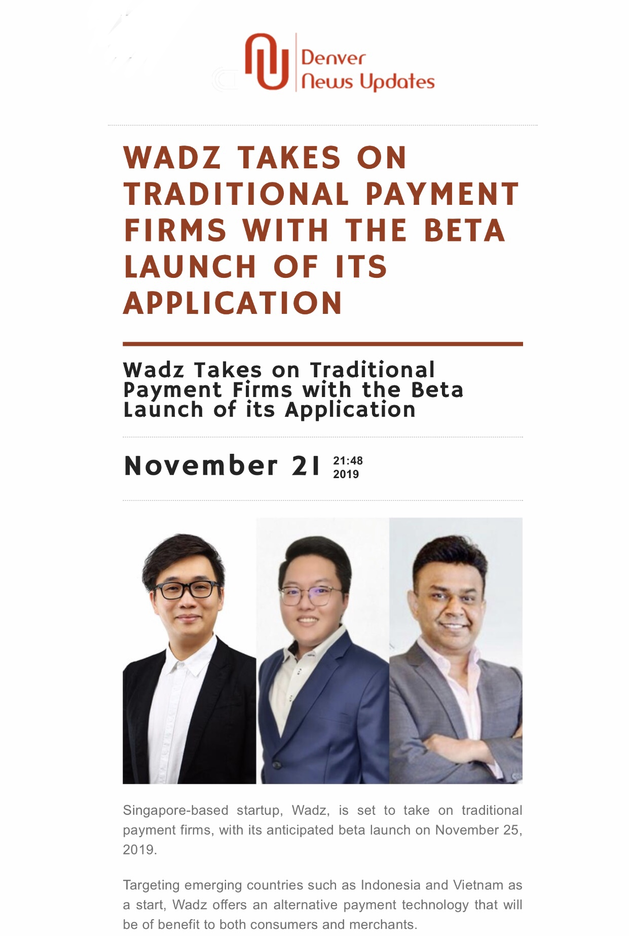, Denver News Updates: WADZ TAKES ON TRADITIONAL PAYMENT FIRMS WITH THE BETA LAUNCH OF ITS APPLICATION, Blockchain Adviser for Inter-Governmental Organisation | Book Author | Investor | Board Member