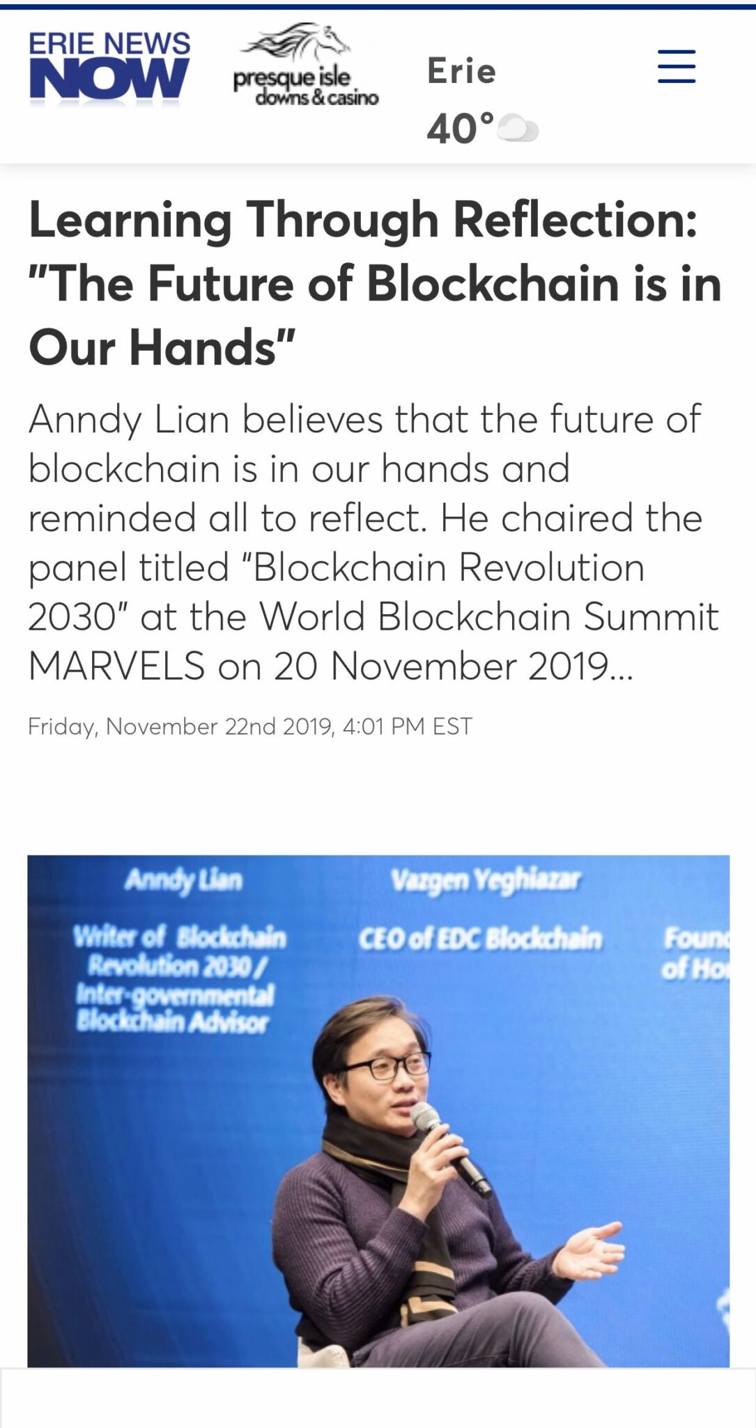 """, Erie News Now: Learning Through Reflection: """"The Future of Blockchain is in Our Hands"""", Blockchain Adviser for Inter-Governmental Organisation 