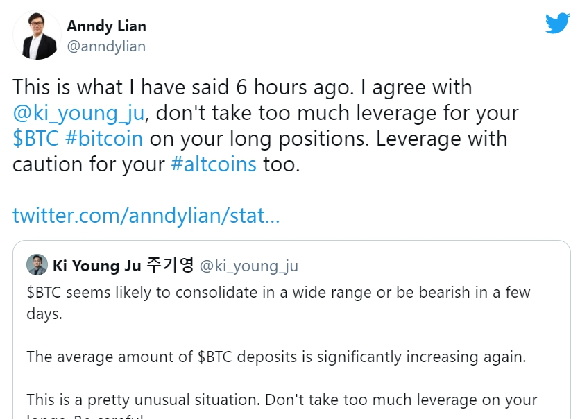 """Anndy Lian Warns all: """"If you are on high leverage, avoid liquidation."""""""